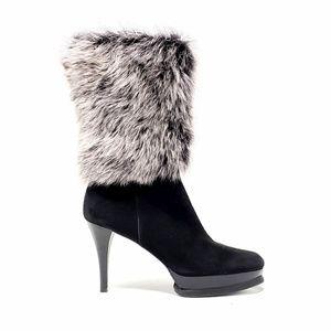 Stuart Weitzman Black Suede Yetala Fur Boots
